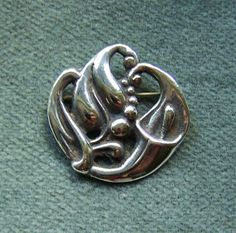 Stylized CALLA LILY BROOCH - Sterling Silver Pin In the Style of Georg Jensen