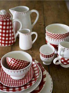 Red & White Plaid check dinnerware
