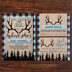 Little Buck Baby Shower BABY BOY Shower Invitation Deer Baby