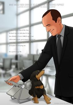 sylphide-cathayan:  What would Phil Coulson do if he finds abandoned puppies? based on scifigrl47's headcanon The Avengers and Puppies. Previous work in the set: Natasha  COULSON AND PUPPY. THAT IS ALL.