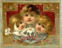 Antique Easter Angel Cupid Dove Trade Card Woolson Spice 1890s Brundage Chromo