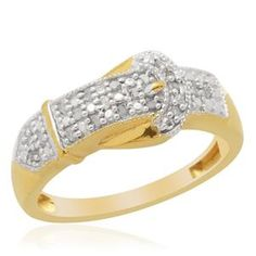 £29.99  Diamond (Rnd) Ring in 14K Gold Overlay Sterling Silver (Size T) 0.100 Ct. (Delivery 15-18 Working Days)