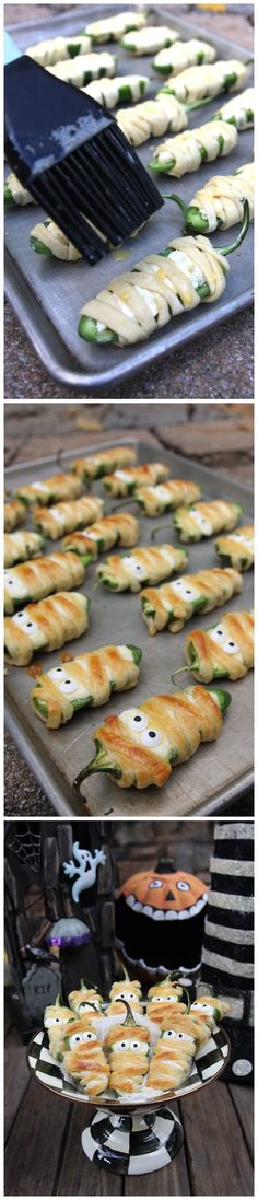 Halloweeño Jalapeño Poppers Ingredients 10 jalapeño peppers, sliced in half lengthwise and pith/ seeds removed (use rubber gloves so your hands don't burn from the jalapeño). Leave the stem i… Halloween Appetizers, Halloween Dinner, Halloween Goodies, Halloween Food For Party, Halloween Treats, Halloween Potluck Ideas, Halloween Halloween, Halloween Decorations, Halloween Costumes