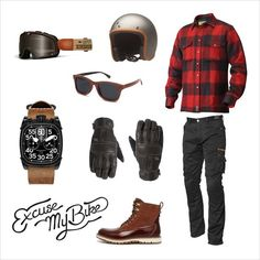 Lumberjack bucheron excuse my bike Motorcycle Equipment, Motorcycle Shop, Motorcycle Style, Motorcycle Outfit, Cycling Equipment, Motorcycle Clothes, Triumph Motorcycle Clothing, Motorcycle Riding Gear, Motorcycle Fashion