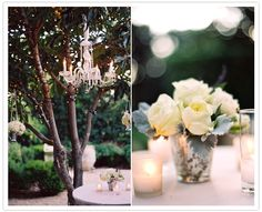 hanging flower vases and chandeliers