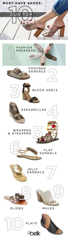 Strappy heels, flat sandals, mules fashion sneakers…they're all on our must-have list for summer, and we think they'll look great on you. Dress up an off-the-shoulder dress with espadrilles, or go casual with a t-shirt dress and sneakers with an old-school vibe. Shop all the latest trends in summer shoes and sandals in stores or at belk.com.