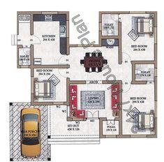 Simple 3 Bedroom Low Cost Kerala Home Plan with Pooja Room - Free Kerala Home Plans Bungalow Floor Plans, Modern House Floor Plans, Modern Bungalow House, House Layout Plans, Duplex House Plans, Family House Plans, Dream House Plans, Small House Plans, 3 Room House Plan