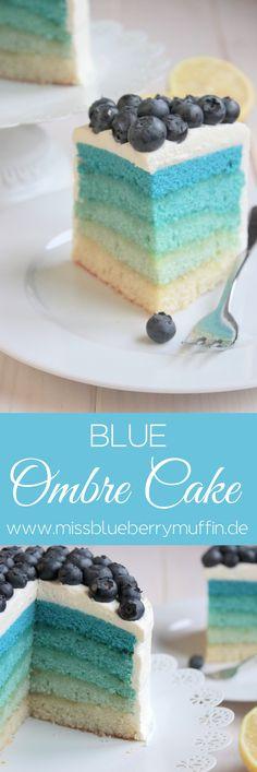 Einfacher Blue Ombre Cake mit Blaubeeren