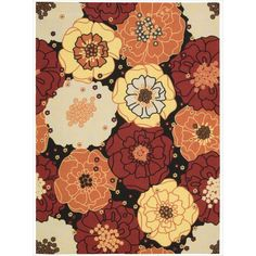 Add a touch of color to any of your living spaces with this floral indoor or outdoor rug. The bold, black background and vibrant blossoms, in hues of red, yellow, beige, and orange, will add zest to any modern or retro decorating scheme.