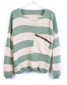 Indressme   Green Stripes Loose Sweater with Pocket style 00-0124205 only $39.99 .
