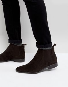 119ceec43f NEW LOOK FAUX SUEDE CHELSEA BOOTS IN DARK BROWN - BROWN.  newlook  shoes