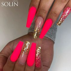 Neon Pink Coffin Nails With Glitter Ombre ❤ 40+ Magnificent Coffin Nails Designs You Must Try ❤ See more ideas on our blog!! #naildesignsjournal #nails #nailart #naildesigns #coffinnails #nailshapes #coffins #ballerinanails Fancy Nail Art, Fancy Nails, Cool Nail Art, Cute Nails, Pretty Nails, Pink Nail Designs, Pretty Nail Designs, Simple Nail Designs, Pink Coffin