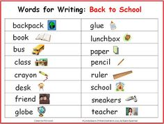 FREE Writing vocabulary chart for your back-to-school writing center