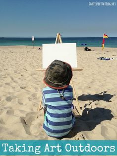 A blank canvas and an endless view - so many possibilities. Love this idea to take kids art outdoors.