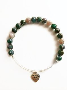 Pink and Green Wire Bracelet Pink Tourmaline Wire Wrapped Bracelet by JulemiJewelry, $18.00