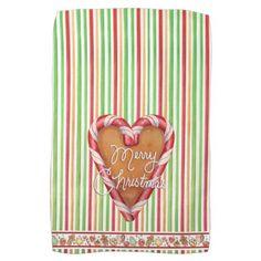 Merry Christmas Gingerbread Heart Hand Towel