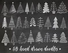 Set includes charming hand drawn Christmas tree, fir tree images in in chalkboard texture, as well as the same elements in white color 100 images total. chalkboard background also included. Chalkboard Lettering, Chalkboard Designs, Chalkboard Drawings, Chalkboard Paint, Illustration Noel, Christmas Illustration, Christmas Art, Christmas Decorations, Chalkboard Art