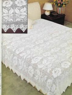White roses filet work, bedspread with diagram. I don't do filet or big projects, but this is beyond gorgeous.