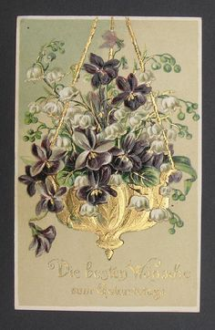Beautiful gold hanging basket w/ Violets  Lily of the Valley German Birthday pc picclick.com