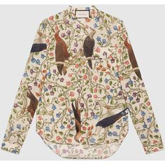 Gucci Birds Of Prey Print Cotton Shirt ($535) ❤ liked on Polyvore featuring men's fashion, men's clothing, men's shirts, men's casual shirts, cotton, men, ready to wear, shirts, mens patterned shirts and mens print shirts
