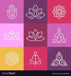 Buy Vector Yoga Icons and Round Line Signs by venimo on GraphicRiver. Vector yoga icons and round line badges – graphic design elements in outline style or logo templates for spa center o. Yoga Logo, Zen Logo, Yoga Vector, Vector Art, Vector Icons, Logo Design Template, Logo Templates, Illustration Ligne, Yoga Symbole