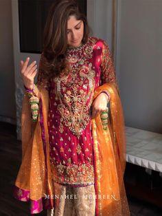 Grooms sister Mehndi dress inspo ( designer is menahel and mehreen ) Shadi Dresses, Pakistani Formal Dresses, Pakistani Wedding Outfits, Pakistani Dress Design, Bridal Outfits, Indian Dresses, Pakistani Clothing, Indian Suits, Stylish Dresses