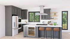 Modern Farmhouse Kitchens, Farmhouse Kitchen Decor, Country Kitchen, Kitchen Cabinets In Bathroom, Basement Kitchen, Lily Ann Cabinets, 3d Kitchen Design, Small White Kitchens, Kitchen Themes