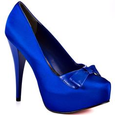 Love this cobalt blue satin heels...
