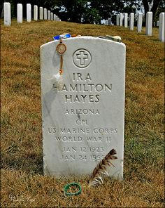 Ira Hayes (Chief Falling Cloud), Pima Native American Hero who helped raise the American flag at Iwo Jima - Arlington National Cemetery.