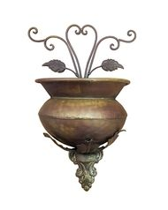 """Copper Floral Wall Planter 12"""""""