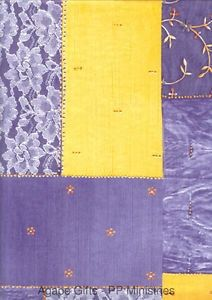 3PK Decopatch Tissue Paper - Purple, Yellow, White - Lace Patchwork #359 3 sheets of decoupage/paper mache/collage paper.