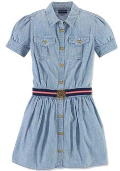 NWT Ralph Lauren Girls Chambray Short Sleeves Dress Size 8 #RalphLauren #Everyday