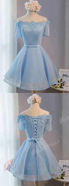 homecoming dress 2017,a line homecoming dress,off the shoulder homecoming dress,above knee homecoming dress,blue homecoming dress,tulle homecoming dress,homecoming dress with appliques