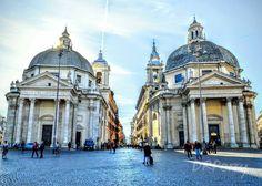 """The """"twin"""" churches of Santa Maria in Montesanto (left built 1662-75) and Santa Maria dei Miracoli (right built 1675-79). The Via del Corso exits between the two churches. #fb #wp #roma #rome #italy #italia #italianarchitecture #italianlandscape #church #noidiroma #repostromanticitaly #amazing #exploringrome #piazzadelpopolo #architecture #photobydperry"""