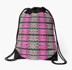 Drawstring Bag Pink Green Tiled Pattern #redbubble #bag #handbag http://www.redbubble.com/people/donnagrayson/works/22881700-pink-green-tiled-pattern?asc=t&p=drawstring-bag