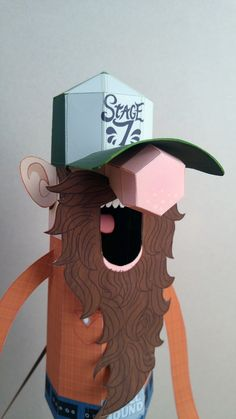 Bearded Banjoist Papertoy on Behance 3d Paper Crafts, Cardboard Crafts, Paper Toys, Diy Paper, Diy And Crafts, Arts And Crafts, Origami, Cardboard Robot, Beard Art