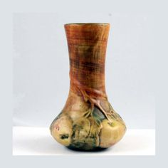 Antique Baldin Bud Vase by Weller Art Pottery.    This lovely vase features raised apples on branches in muted earth tone colors of cream, rust, and