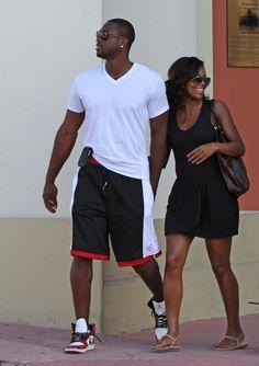 Gabrielle Union Photos Photos - Gabrielle Union and boyfriend Dwyane Wade of the Miami Heat NBA team in Miami. - Gabrielle Union and Dwayne Wade in Miami