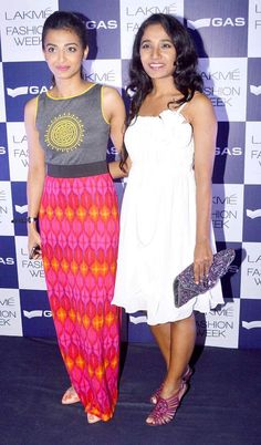 Tannishtha Chatterjee with a friend on the 2nd day of the Lakme Fashion Week 2013. #Bollywood #Style #Fashion #LFW