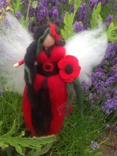 Needle Felted Poppy Flower Fairy. Red and Black by WispsandWands