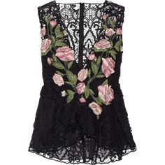 Marchesa Floral-appliquéd guipure lace peplum top, Women's, Size: 10 (€2.785) ❤ liked on Polyvore featuring tops, marchesa, black, flounce tops, black lace peplum top, v neck peplum top, black peplum top and floral top