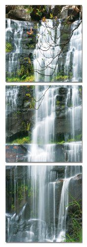 Rockside Waterfall . Vertical Contemporary Art, Modern Wall Decor, 3 Panel Wood Mounted Giclee Canvas Print, Ready... - Listing price: $169.00 Now: $69.99