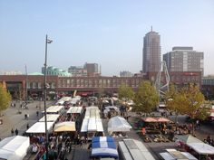 Enschede city market and skyline
