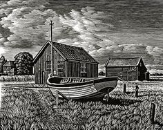 The Ferry Point, Walberswick by Howard Phipps, wood engraving