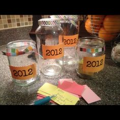 Made some memory jars...cute idea that I found on Pinterest...I can write down special memories, funny things that the kids say, etc and keep them in the jar.  I look forward to all of us reading them on New Years Eve!