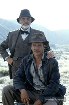 Publicity Shot: Indiana Jones and The Last Crusade - Sean Connery & Harrison Ford Henry Jones Jr, Harrison Ford Indiana Jones, Indiana Jones Films, Indiana Jones Last Crusade, Indiana Jones Costume, Harrison Ford Movies, Blade Runner, Movie Stars, Movie Tv