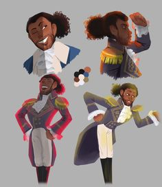 """""""Some sketches of America's favorite fighting frenchman!!!!1!!11"""" - marquis de lafayette art from hamilton"""