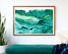 Undercurrent Emerald Ink: Art Print Ocean Art Surf by versoPRINTS