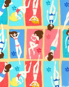 perfect for summer themed sewing projects, what a gorgeous fabric! Beach Babe - Golden Tan - at eQuilter.com