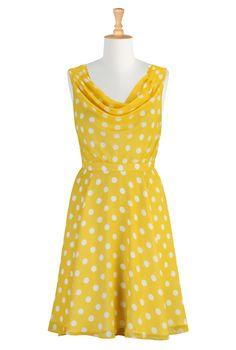 #eshakti #sunny #yellow #spring #summer #polkadot #summerdress #cowlneck #sundress
